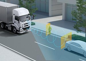 いすゞ ギガトラクタ 歩行者検知機能付プリクラッシュブレーキイメージ図