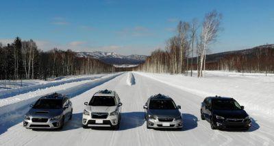 自動運転実験車両と美深試験場テストコース