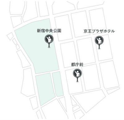 西新宿 自動運転タクシー実証実験 乗降場所地図