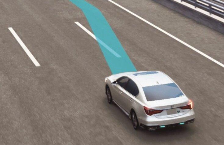 ホンダ レジェンド ハンズオフ機能付車線変更運転支援機能 説明イラスト