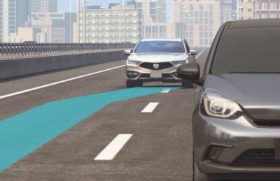 ホンダ レジェンド ハンズオフ機能付高度車線変更支援機能説明イラスト